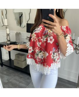 TOP FLOWERS COLLAR ON SHOULDERS 3929 RED