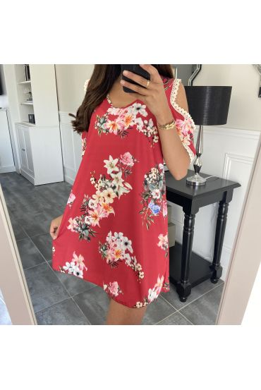 ROBE FLORALE 6730 ROUGE