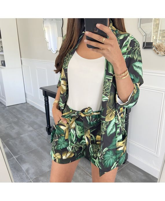 SET JACKET + SHORTS TROPICAL 8784 BLACK