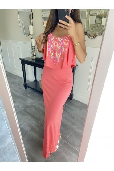 LONG DRESS AZTEQUE 3998 CORAL