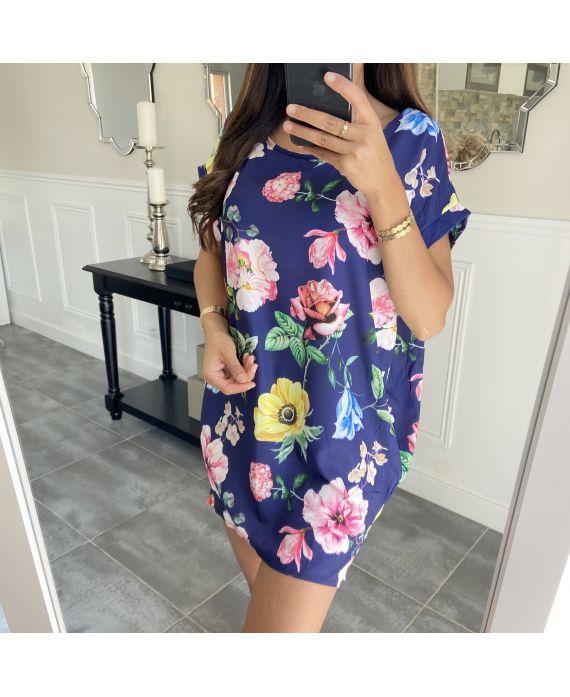 TUNIC DRESS FLOWERS 7731 NAVY BLUE
