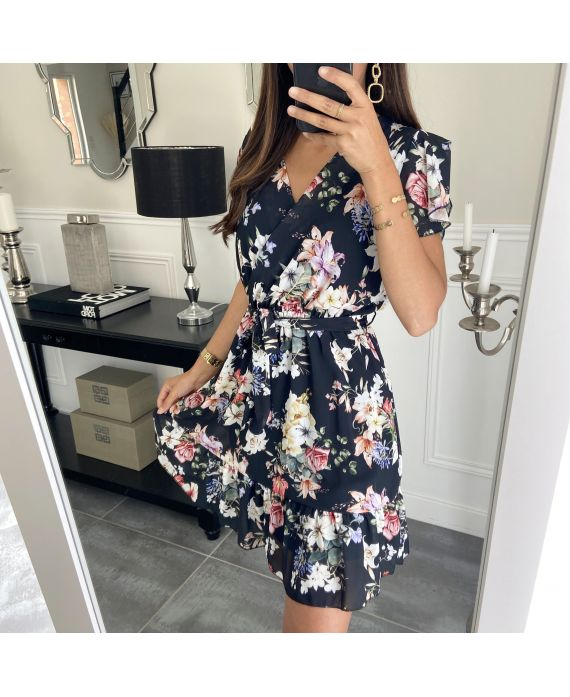 DRESS HAS FLOWERS 9423 BLACK