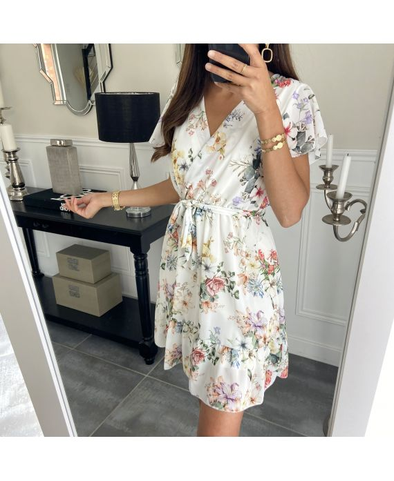 DRESS HAS FLOWERS 9423 WHITE