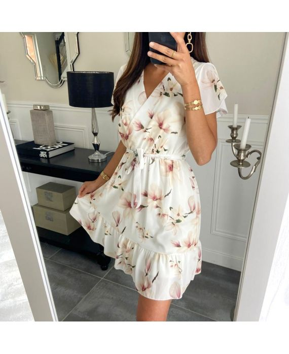 DRESS FLOWERS PRINTS 9423 WHITE