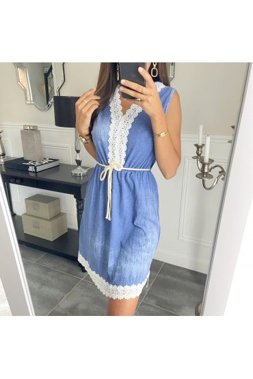 DRESS LACE EFFECT DELAVE 7769 DONKER BLAUW