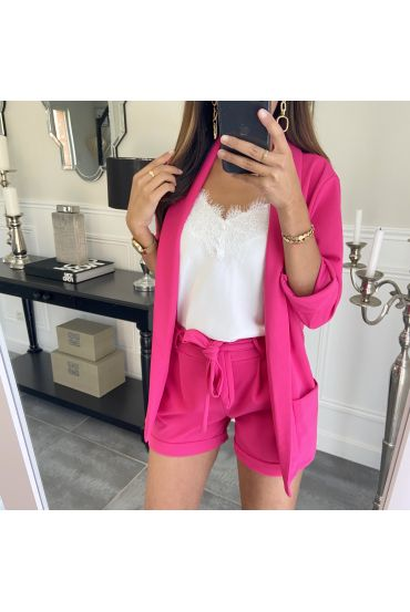 ENSEMBLE VESTE + SHORT 8784 FUSHIA
