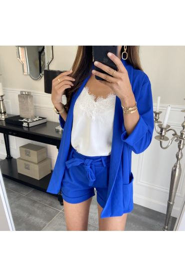 ENSEMBLE VESTE + SHORT 8784 BLEU