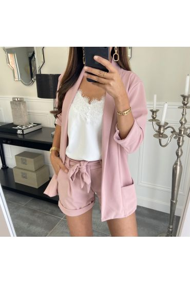 ENSEMBLE VESTE + SHORT 8784 ROSE