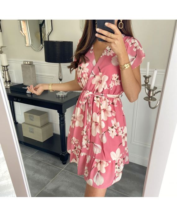 DRESS FLOWERS PRINTS 9423 CORAL