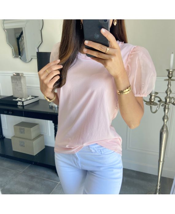 T-SHIRT PUFFED SLEEVES 7350 PINK