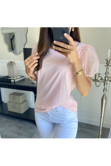 T-SHIRT MANCHES BOUFFANTES 7350 ROSE