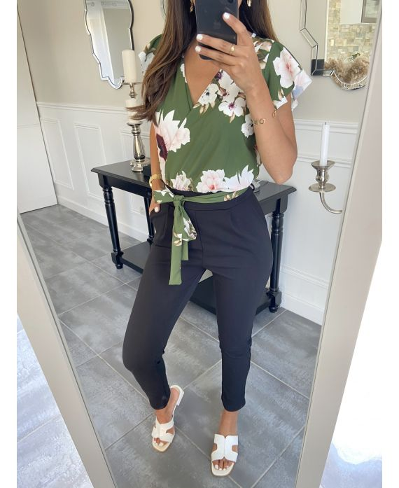 COMBINATION PANTS FLOWERS 9482 MILITARY GREEN