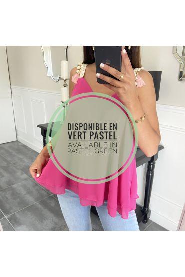 TOP STRAPLESS EEN POM-POM 1655 PASTEL GROEN