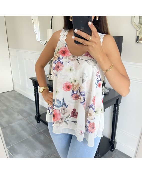 TOP HAS FLOWERS 6551-WHITE