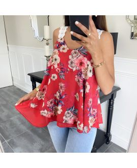 TOP HAS FLOWERS 6551 RED