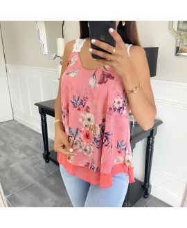 TOP HAS FLOWERS 6551 PINK
