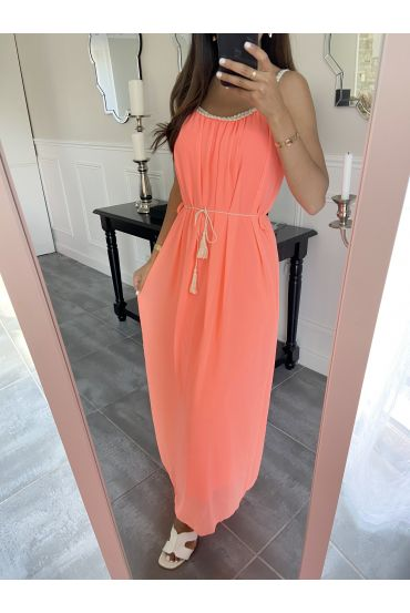 LONG DRESS CLOAK 8829 ORANGE FLUO