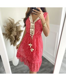 DRESS LACE HAS POM-POMS 8834 CORAL