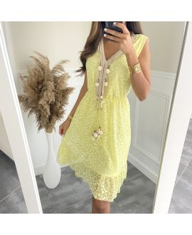 DRESS LACE HAS POM-POMS 8834 YELLOW