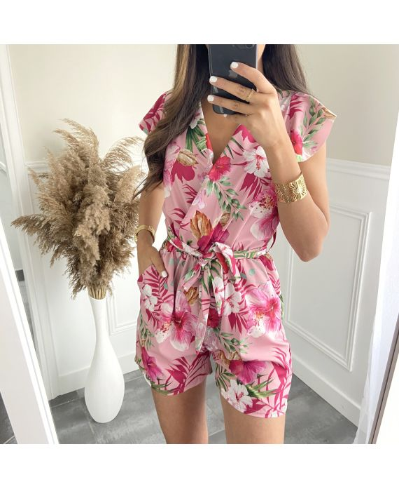 COMBINATION SHORTS FLOWERS 7883I2 PINK