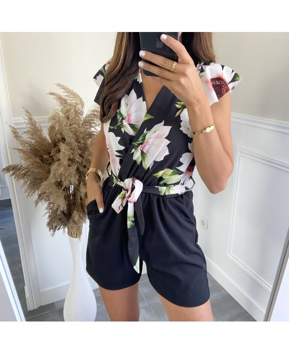 COMBINATION SHORTS FLOWERS 7883 BLACK