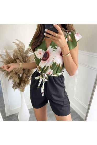 COMBINATION SHORTS FLOWERS 7883 MILITARY GREEN