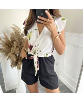 COMBINATION SHORTS FLOWERS 7883 WHITE