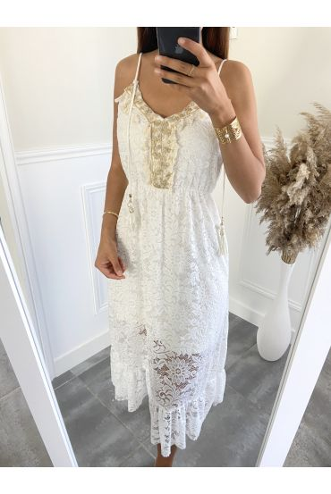 DRESS POM POMS LACE 9499 WHITE