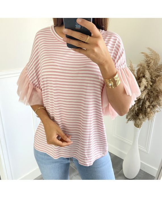 T-SHIRT RAYE MANCHES TULLE 2806 ROSE