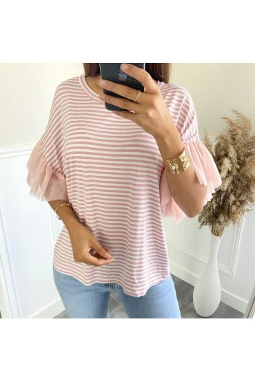 T-SHIRT A RIGHE MANICHE TULLE 2806 ROSA