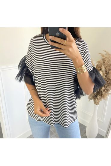 T-SHIRT STRIPED SLEEVES TULLE 2806 BLACK