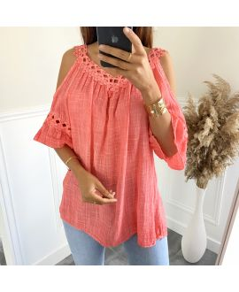 TUNIC LACE EFFECT DELAVE 2801 CORAL