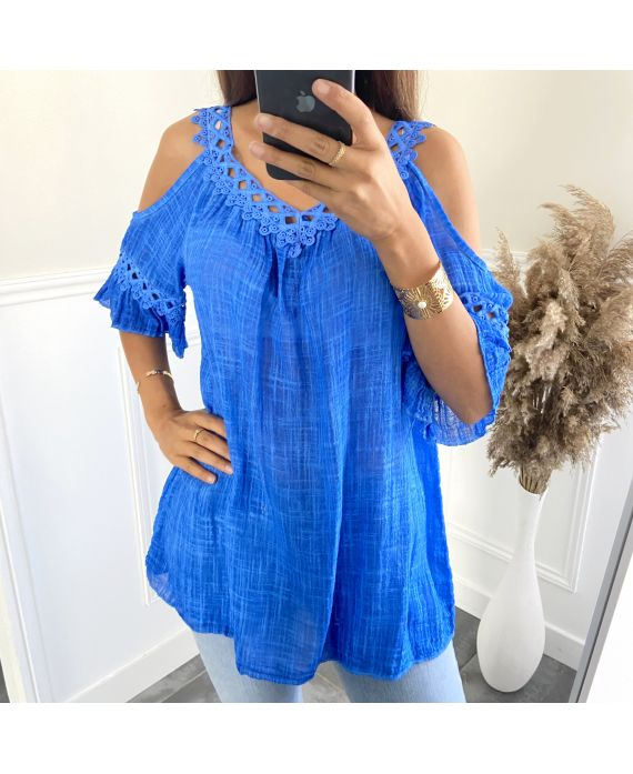 TUNIC LACE EFFECT DELAVE 2801 ROYAL BLUE