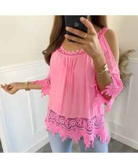 TUNIC LACE SHOULDERS DENUDEES 2800 FLUORESCENT PINK