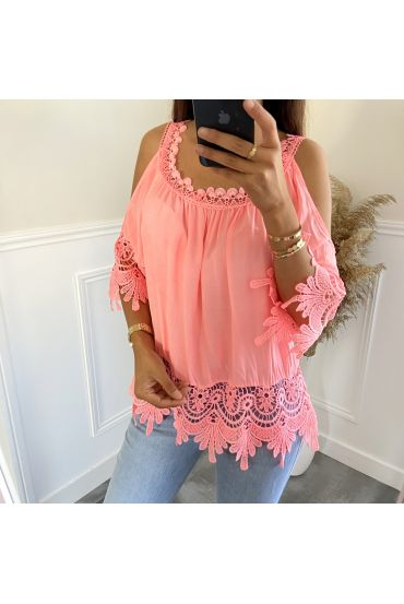 TUNIC LACE SHOULDERS DENUDEES 2800 ORANGE FLUO