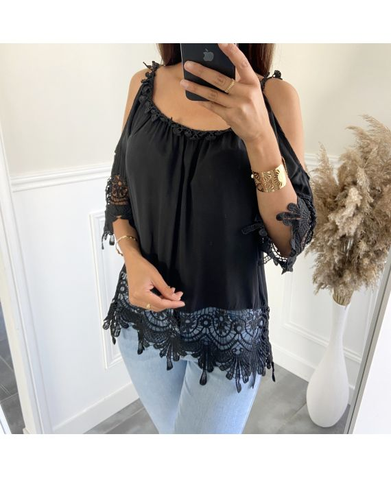 TUNIC LACE SHOULDERS DENUDEES 2800 BLACK