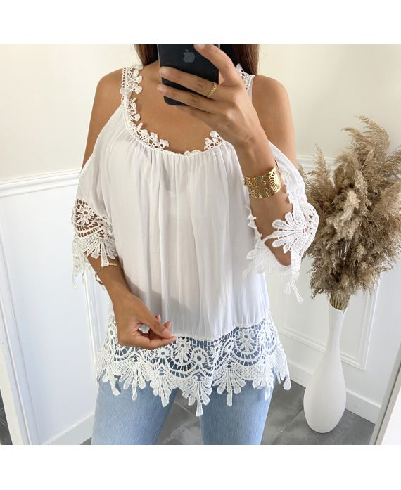 TUNIC LACE SHOULDERS DENUDEES 2800 WHITE