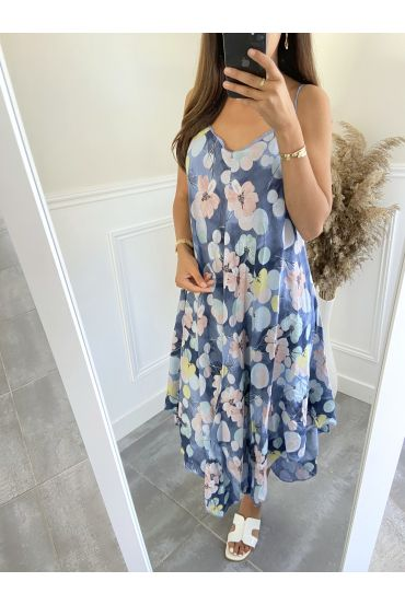 DRESS HAS FLOWERS 2803 BLUE