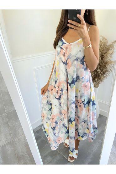 DRESS HAS FLOWERS 2803 WHITE