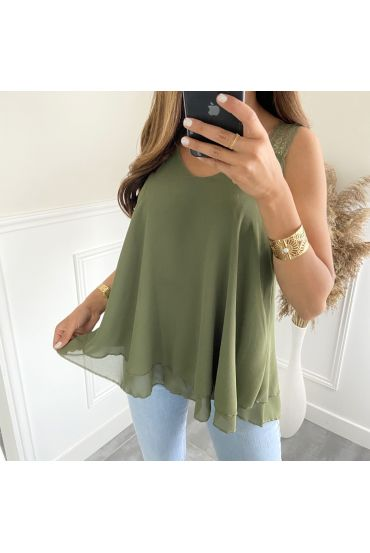 TOP HAS SHOULDER STRAPS 6551 MILITARY GREEN