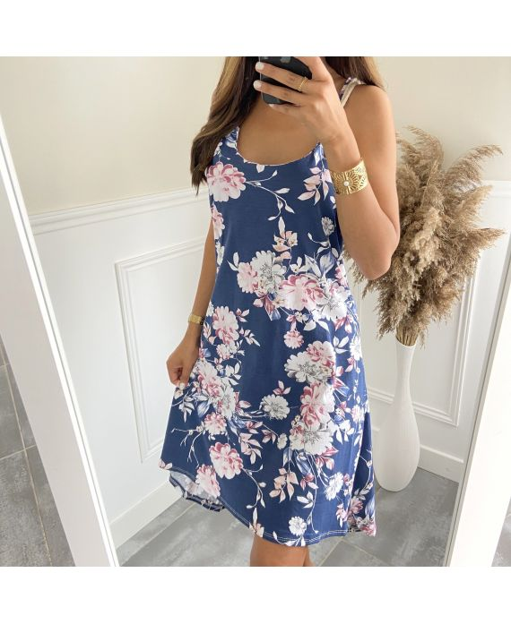 DRESS HAS FLOWERS TIED 2811I1 NAVY BLUE