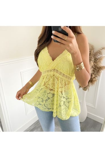 LACE TOP 2818 GEEL