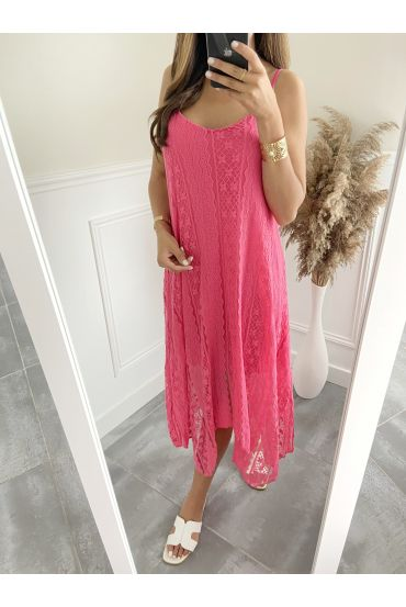 LONG DRESS LACE 2819 FUSHIA