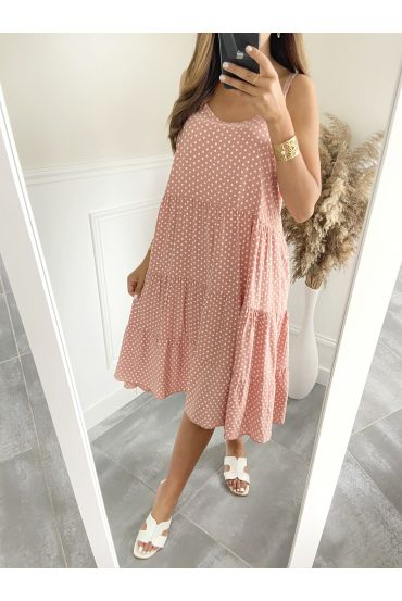 ROBE EVASEE A POIS 2825 ROSE