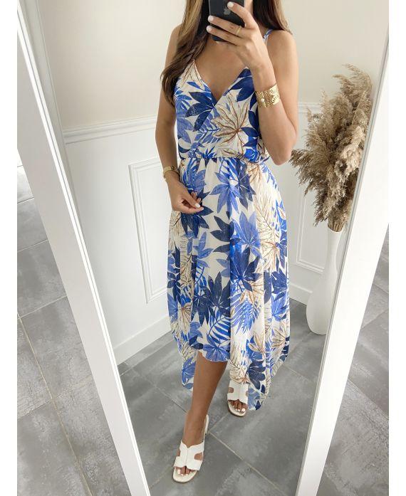 DRESS FLORAL PATTERN 9548 BLUE