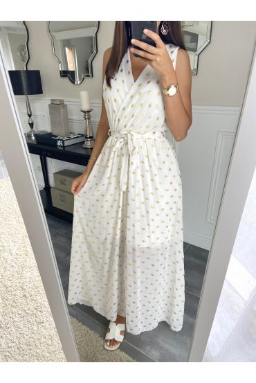 LONG DRESS FEATHERS 8766 WHITE