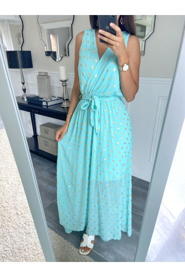 LONG DRESS FEATHERS 8766 PASTEL GREEN