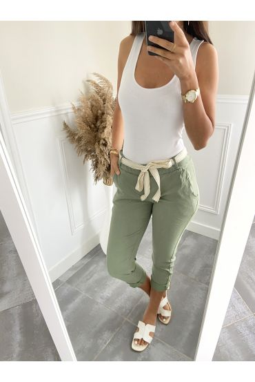 PANTS EFFECT WRINKLES 2823 MILITARY GREEN