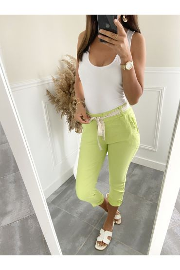 PANTS EFFECT WRINKLES 2823 PASTEL GREEN
