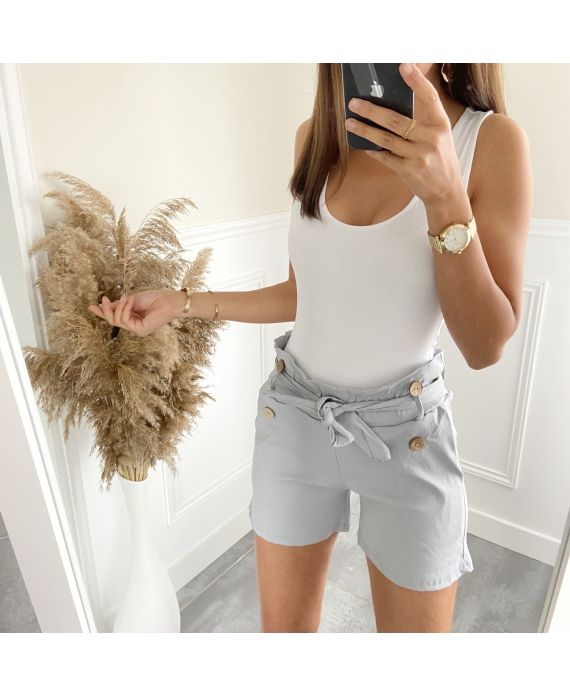 SHORTS BUTTONS 2825 GREY